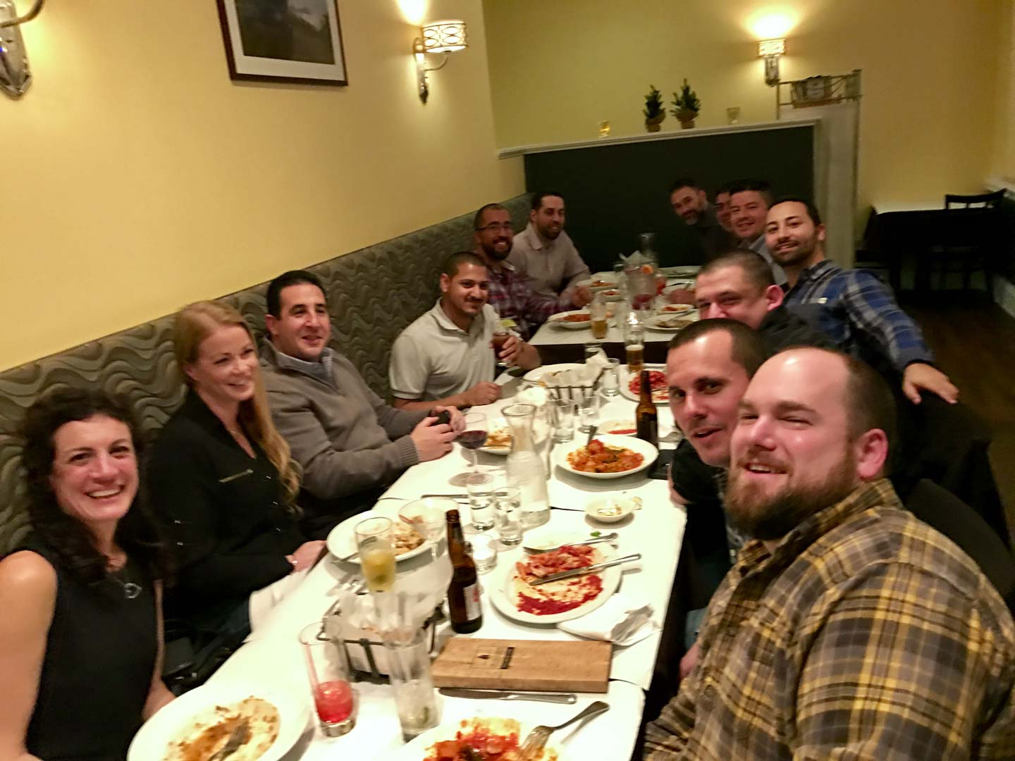amnet support team at dinner